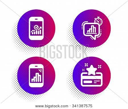 Smartphone Statistics, Statistics Timer And Graph Phone Icons Simple Set. Halftone Dots Button. Loya