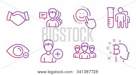 Add Person, Group And Smile Line Icons Set. Myopia, Handshake And Medical Analyzes Signs. People, Bi