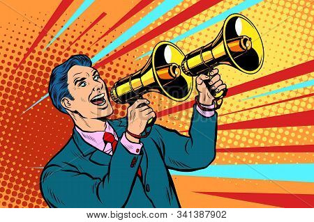 Businessman With A Megaphone. Announcement Advertising. Pop Art Retro Vector Illustration Kitsch Vin