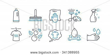Set Of Cleaning Icons, Such As Dry T-shirt, Washing Cloth, T-shirt, Cleaning Spray, Vacuum Cleaner,