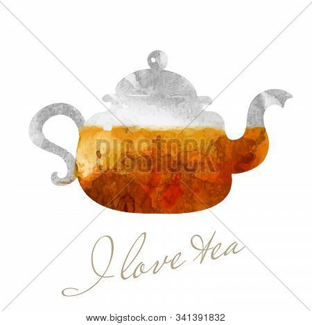 Teapot Illustration. Cafe And Tea Bar Picture. Glassy Teapot With Tea Watercolor Picture.