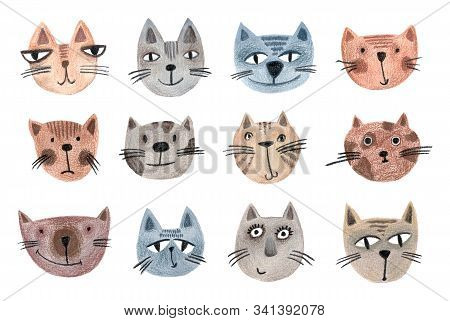 Set Of Muzzles Of Cats Drawn By Hand. Animal Cartoon Pattern For Wrapping Paper, Textiles, Posters,