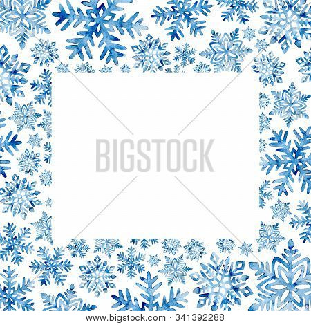 Rectangular Watercolor Frame Of Snowflakes. New Year And Christmas Pattern Drawn In Blue Paint On Pa