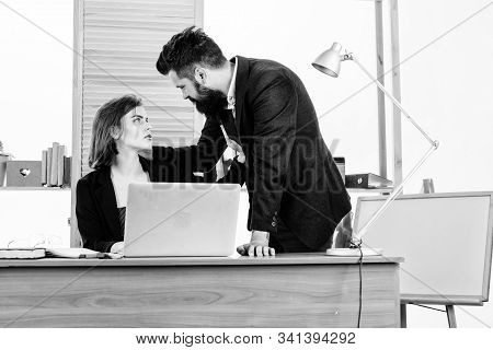 Flirting And Seduction. Flirting With Coworker. Woman Flirting With Guy Coworker. Woman Attractive L