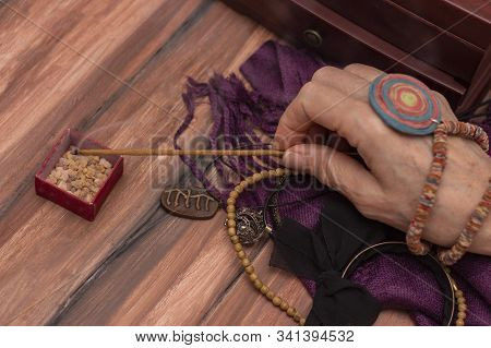 Witchs Fortuneteller Holds Incense In Her Hands. The Concept Of Magic, Predictions Of The Future, Ch