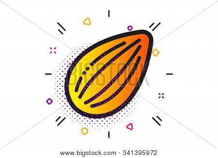 Tasty Nuts Sign. Halftone Circles Pattern. Almond Nut Icon. Vegan Food Symbol. Classic Flat Almond N