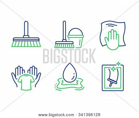 Cleaning Mop, Water Splash And Washing Cloth Line Icons Set. Hold T-shirt, Bucket With Mop And Windo