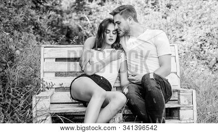 Boyfriend Girlfriend In Love. Lovers Cuddling. Couple In Love Sit On Bench. Summer Vacation. Family