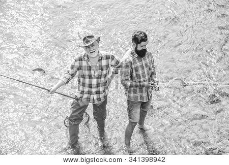 Men Bearded Fishermen. Weekends Made For Fishing. Active Sunny Day. Fishermen Fishing Equipment. Hob