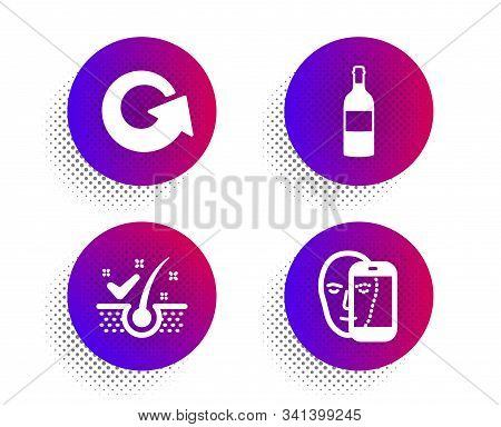 Reload, Anti-dandruff Flakes And Wine Bottle Icons Simple Set. Halftone Dots Button. Face Biometrics