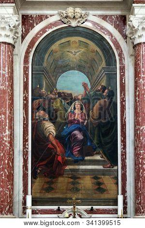 DOBROTA, MONTENEGRO - MAY 02, 2019: Descent of the Holy Spirit, Catholic Church Saint Eustache in Dobrota, Montenegro
