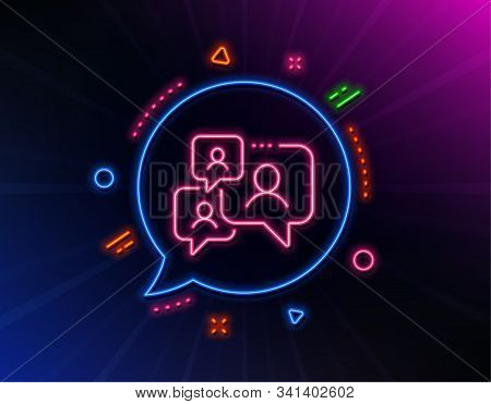 Support Chat Line Icon. Neon Laser Lights. Comments Sign. Speech Bubble Message Symbol. Glow Laser S