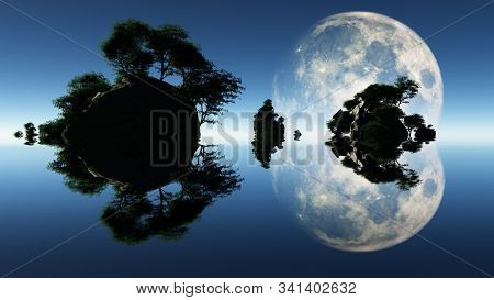 Large moon and islets. Endless ocean. 3D rendering