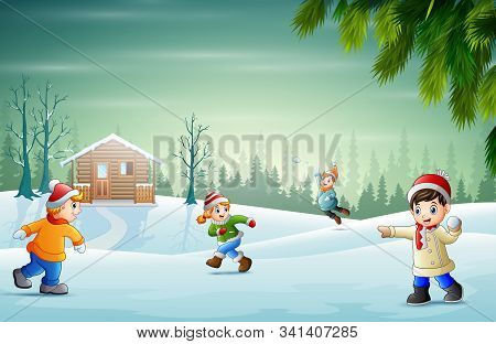 Winter Vacation With Children Playing Snow Illustration