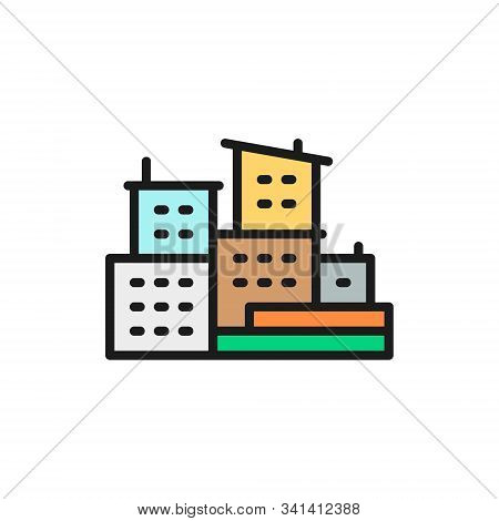 Brazilian Slums, Favelas Of Brazil Flat Color Line Icon.