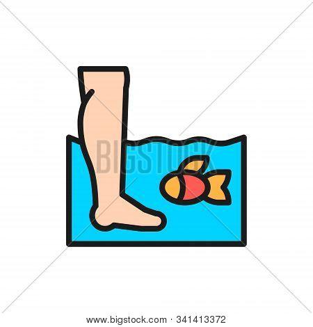 Garra Ruf Fish Massage, Fish Spa Pedicure Flat Color Line Icon.