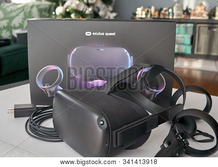 Montreal, Canada - December 23, 2019: Oculus Quest Vr Headset And Controllers. The Oculus Quest Is A