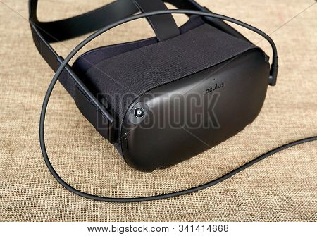Montreal, Canada - December 23, 2019: Oculus Quest Vr Headset Charging. The Oculus Quest Is A First