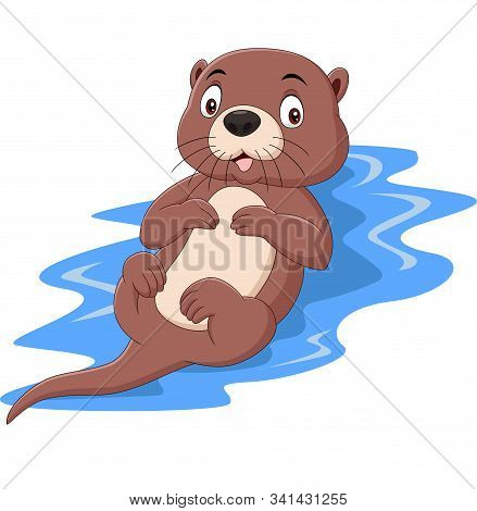 Vector Illustration Of Cartoon Funny Otter Floating On Water