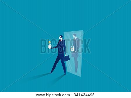 Businessman Think Growth Mindset Walk Out Of Mirror Fixed Mindset Concept Vector