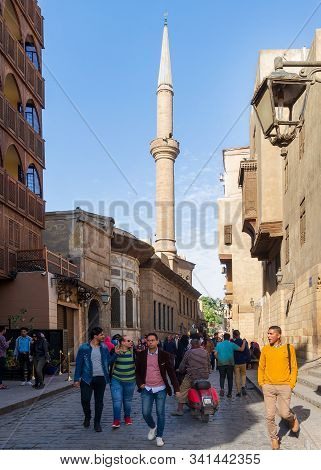 Cairo, Egypt- December 14 2019: Moez Street With Facade Of Ottoman Era Historic Soliman Agha El Sila
