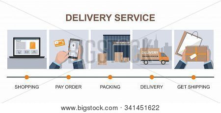 Delivery Service Infographic. Business Logistics, Smart Logistics Technologies, Commercial Delivery