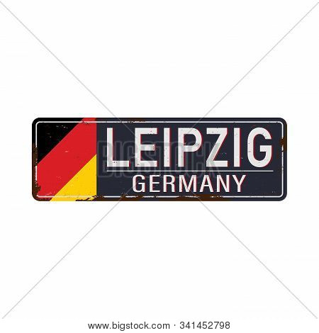 Sign Leipzig Against White Background - Federal State Of Saxony Sachsen - Vector Illustration