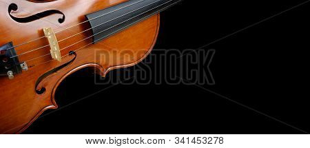 Fragment Of A Violin On A Black Background. Beautiful Bright Butterfly Swallowtail Sitting On A Viol