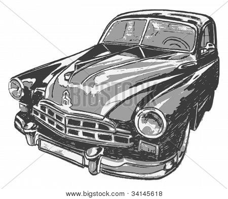 Vintage car, vector illustration