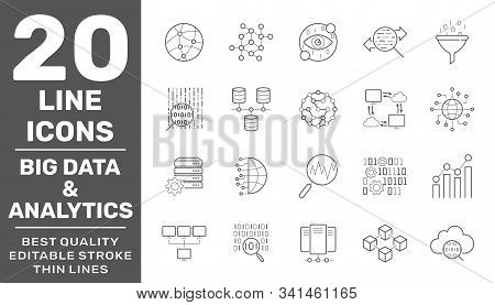 Set Of Big Data And Data Analytics Icon Set. Related Technology Vector Line Icons. Contains Such Ico