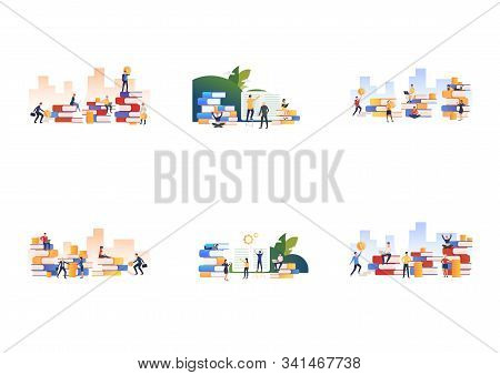 Set Of Workers Attending Business Training. Flat Vector Illustrations Of People Getting Financial Ed