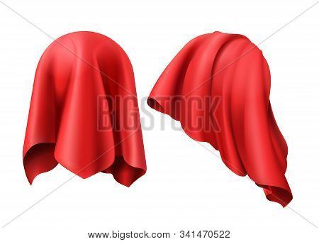 Sphere Covered With Red Cloth. Vector Template Of Ball Hidden Under Silk Veil Or Curtain And Unveili