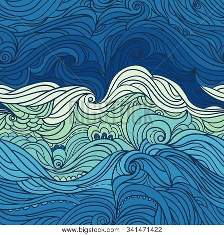 Seamless Waves Pattern. Abstract Water Background With Curly Hand-drawn Lines. Blue Tide Vector Back