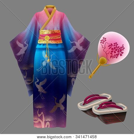 Japanese Woman Kimono, Geisha Dress With Golden Waist, Shoes And Fan. Yukata With Blue And Pink Orna