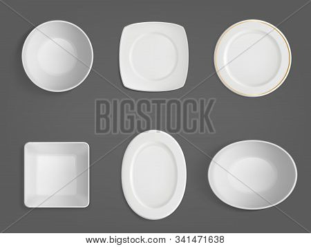 Empty White Bowls Top View. Realistic Vector Mockup Of Square, Round And Oval Shape Plates And Dish