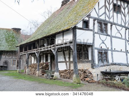 View Of A Historic Alsatian Half-timbered Farmhouse