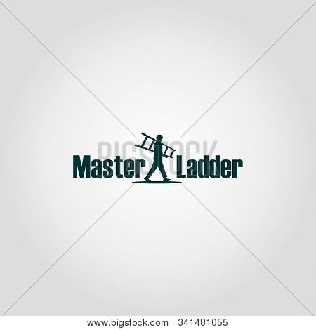 Master Ladder Company Logo Design Template, Pictorial Mark Logo Concept, Character Logo, People Carr