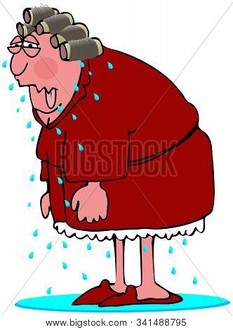 Illustration Of A Middle Age Woman In Curlers And A Red Robe Sweating Profusely From A Hot Flash.