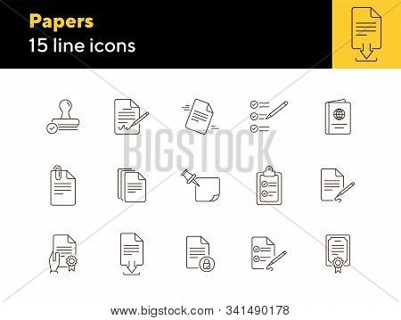 Papers Line Icon Set. Document, Note, Agreement. Paperwork Concept. Can Be Used For Topics Like Busi