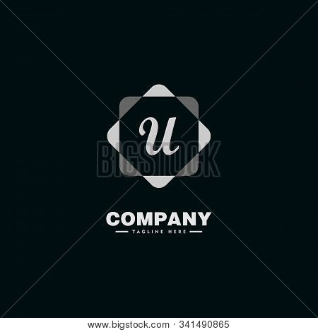 Letter U Alphabetic Company Logo Design Template With Geometric Rounded Square Element, Hexagonal Sh