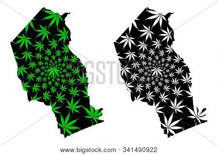 Gaza Province (provinces Of Mozambique, Republic Of Mozambique) Map Is Designed Cannabis Leaf Green