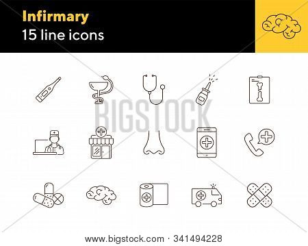 Infirmary Icons. Set Of Line Icons. X-ray, Stethoscope, Nasal Spray. Clinic Concept. Vector Illustra