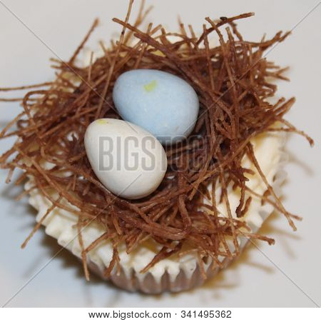 Spring Cupcake Decorated As Bird Nest With Eggs