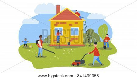 People Wash And Repair Private House. Yard Cleaning. Preparing Home For Sale. Spring Cleaning. Paint