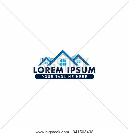 Real Estate Logo Design Template, Construction Company, House Icon, Rounded Window Shape, Roof Top,