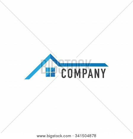 Abstract House Real Estate Logo Design Template,  Home Builders Company, Construction, Blue House Ic