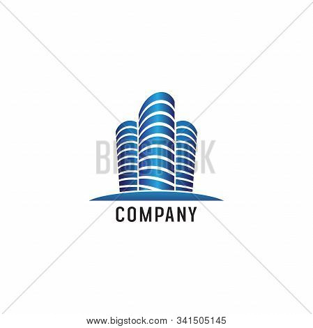 Futuristic Blue Building Logo Design Template, Construction Company, Real Estate, Property. Architec