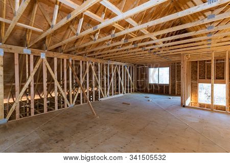 House Attic Under Construction Interior Inside A Frame Walls And Ceiling Material In Wooden Frame