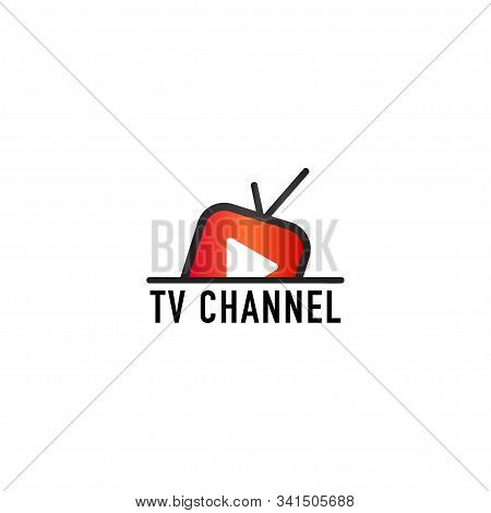 Online Tv Channel Logo Design Template, Rise, Floating Tv Concept, Rounded Tv Icon, Live Streaming,