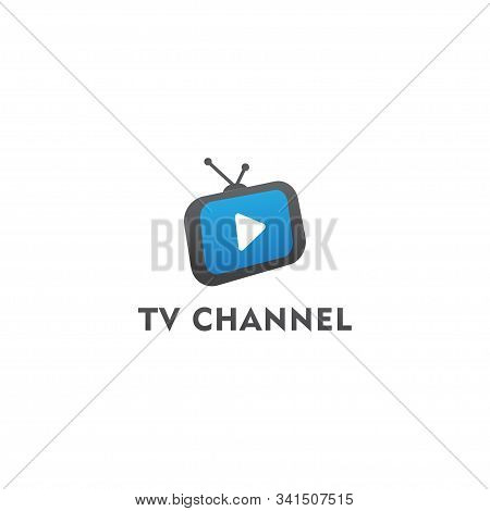 Tv Live Streaming, Online Television, Web Tv, Logo Concept, White Play Button, Blue Background Tv Ch